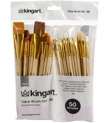 KINGART Paint Brush Value Pack 50/Pkg-Mixed Media