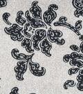 Luxe Fleece Fabric -Black Floral Grey Heather
