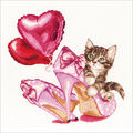 Thea Gouverneur Valentine\u0027s Kitten On Aida Counted Cross Stitch Kit