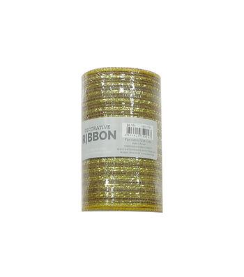 Decorative Ribbon Metallic Deco Mesh 5.5''x10 yds-Gold