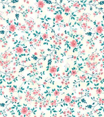 Premium Prints Cotton Fabric-Vines with Pink Roses