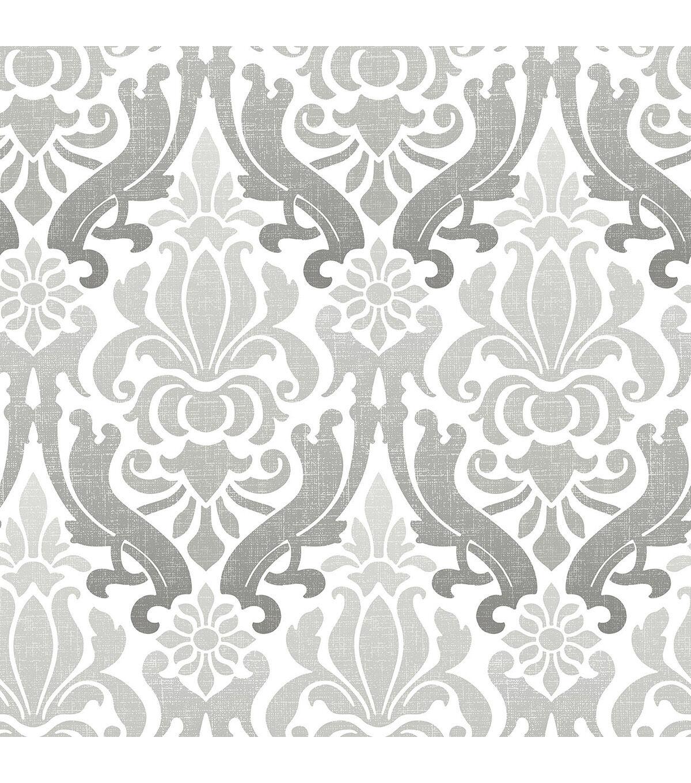 wallpaper \u0026 borders shop wallpaper rolls joannwallpops nuwallpaper grey nouveau damask peel \u0026 stick wallpaper
