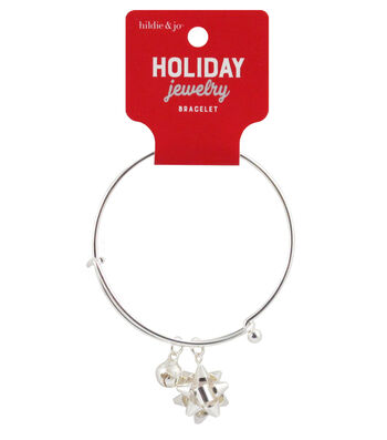 hildie & jo Holiday Jewelry Silver Bangle Bracelet with Bow Charm