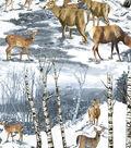 Snuggle Flannel Fabric -Wintertime Deer