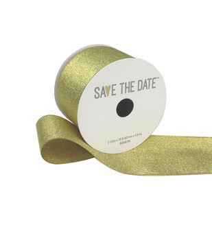 Save the Date Metallic Ribbon 2.5''x15'-Gold