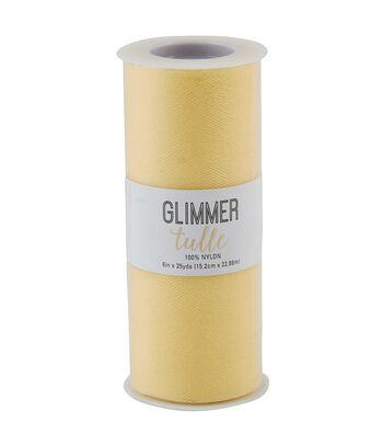 Glimmer Tulle Spool 6''x25 yds-Lemon
