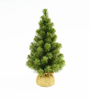 Handmade Holiday 18'' Norway Green Spruce Tree with Burlap Base
