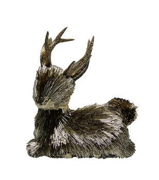 Handmade Holiday Christmas Metallic Bead Sitting Deer