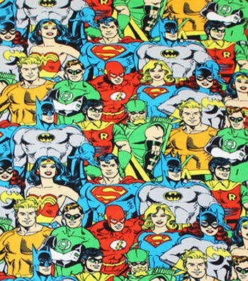 "DC Comics Fleece Fabric 58""-Packed Heroes"