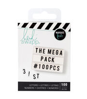 Heidi Swapp Mega Pack Lightbox Inserts-Black Alphabets & Numbers, , hi-res