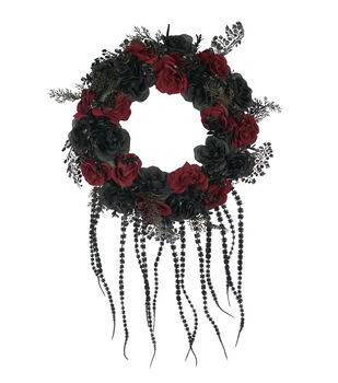 Maker's Halloween 20''x5'' Gothic Rose Wreath-Red & Black