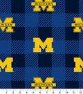 Michigan Wolverines Fleece Fabric-Buffalo Plaid