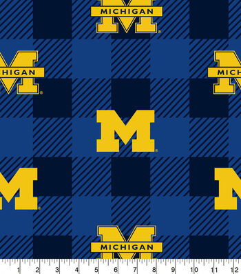 Michigan Wolverines Fleece Fabric-Buffalo Plaid