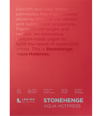 Stonehenge Aqua Hotpress 15-sheet 7''x10'' 140 lbs. Paper Pad-White