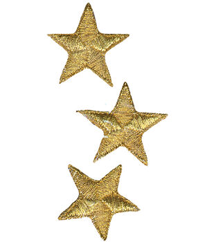 "Wrights Iron-On Appliques-Gold Metallic Stars 1-1/4"" 3/Pkg"