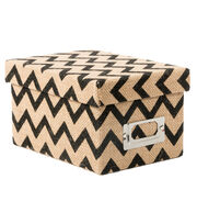 DCWV Mini Box: Burlap with black chevron, , hi-res