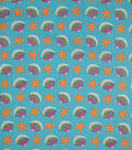 Doodles Juvenile Apparel Fabric -Seashell Pucker on Teal