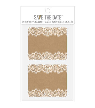 Save the Date 26 pk 3.5''x2.25'' Rectangle Adhesive Labels-Rustic
