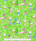 Easter Cotton Glitter Fabric -Fun Bunnies