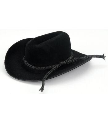 .75in Velvet Blk Hat W/rope Trim