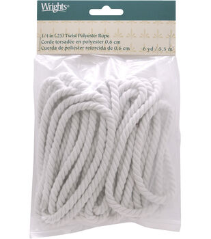 "Wrights 1/4"" Twist Rope Poly 6 Yds-Matte White"