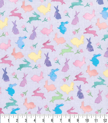 Easter Cotton Fabric-Multi Mixed Bunnies