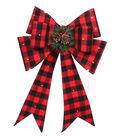 Maker\u0027s Holiday Christmas LED Bow-Red & Black Checks