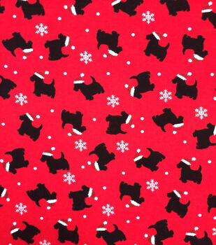 """Doodles Christmas Cotton Fabric 57""""-Red & Black Santa Dogs"""