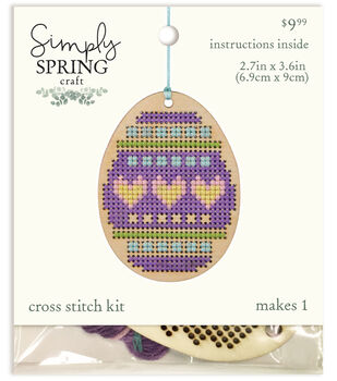 Simply Spring Craft Easter Wood Egg Cross Stitch Kit