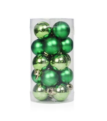 Maker's Holiday Christmas 20 pk 25 mm Shatterproof Ornaments-Green