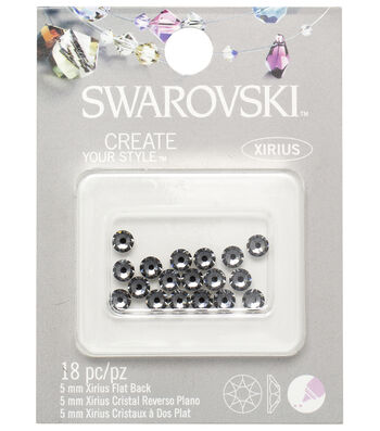 Swarovski 5mm Flat Back Rhinestones 18/Pkg-Silver Night