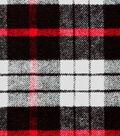 Plaid Brush Cotton Fabric -Red, Black & White