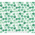 St. Patrick\u0027s Day Cotton Fabric-Photoreal Clovers on White