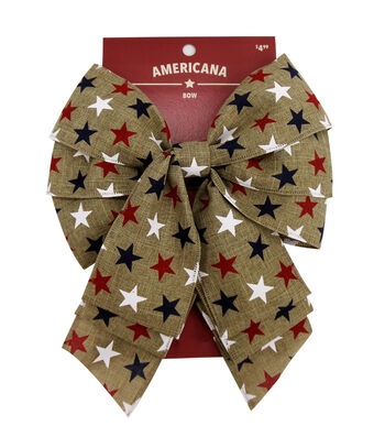 """Americana 2.5"""" Bow-Red, White & Blue Stars on Natural"""