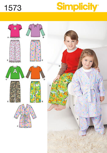 Simplicity Pattern 1573BB Children's Loungewear-Size 4-5-6-7-8