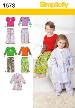 Simplicity Pattern 1573BB Children's Loungewear-Size 4-5-6-7-8