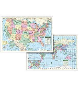 """Laminated U.S. & World Combo Wall Map, 28"""" x 40"""""""