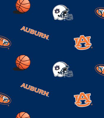 "Auburn University Tigers Fleece Fabric 58""-All Over"