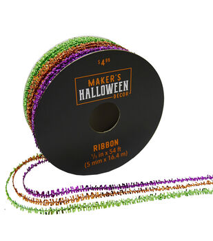 Maker's Halloween Decor Tinsel Ribbon 1/5''x54'-Lime, Orange & Purple