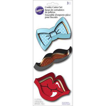 Cookie Cutter 3pc Set-Lips, Mustache And Tie