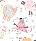 Snuggle Flannel Fabric -Knitting Sheep
