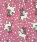Doodles Juvenile Apparel Cotton Fabric-Pegasi & Stars on Pink