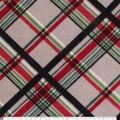 Anti-Pill Plush Fleece Fabric-Gray, Red and Green Plaid