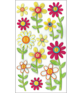 Jolee's Boutique Le Grande Dimensional Stickers-Large Daisy Repeats