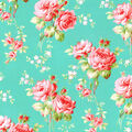 Premium Cotton Fabric-Aqua Medium Floral