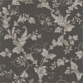 Thames Charcoal Leafy Scroll Wallpaper Sample
