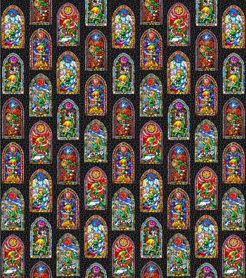 """Nintendo® The Legend of Zelda Cotton Fabric 43""""-Stained Glass"""