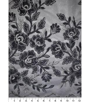 Gianna Rose Velvet Sequin Applique Fabric-Alloy