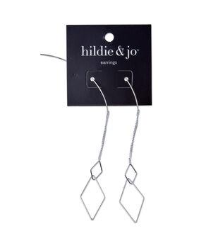 hildie & jo Open Diamond Earrings-Silver