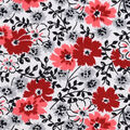 Snuggle Flannel Fabric -Red Gray Black Floral